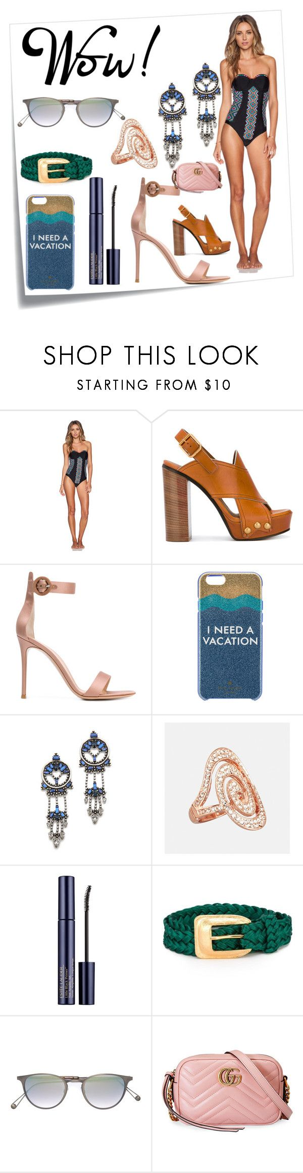 """Beach Riot The Cleopatra Swimsuit"" by ramakumari ❤ liked on Polyvore featuring Post-It, Beach Riot, Gianvito Rossi, Kate Spade, DANNIJO, Avenue, Yves Saint Laurent, Garrett Leight and Gucci"