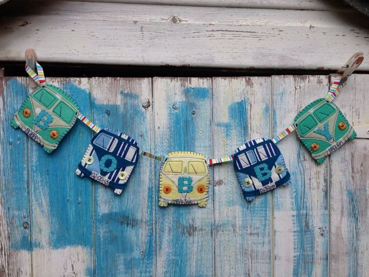 Personalised+VW+Campervan+Bunting+by+KirstensLOVEFelts+on+Etsy,+£30.00