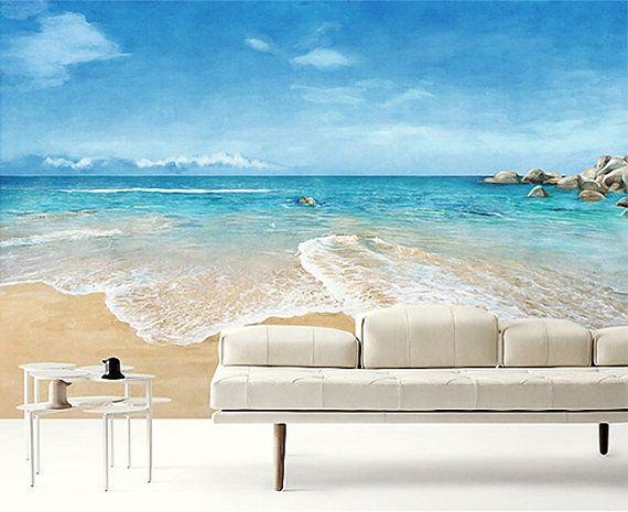 "Watercolor Beach Wallpaper Epic Sea Wall Mural Blue Ocean Wall Paper Sky & Cloud Wall Mural Nature Scene Painting Effect  Wall Art 55""x35"""