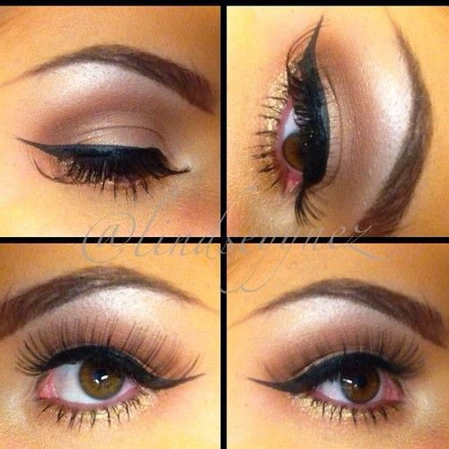 Try this look in Merle Norman! Eyeshadows in Cloud Nine (brow), Truffle (crease), Sand (lid), and Golddigger (pressed into lower lash line). Use ProPen Eyeliner in Sharp Black. Finish with your favorite Merle Norman mascara.