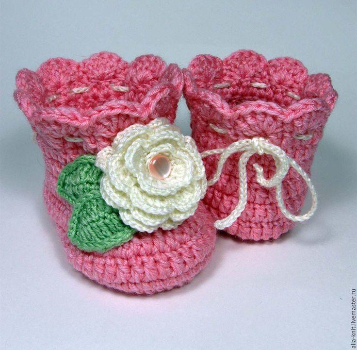 Купить Пинетки сапожки теплые для новорожденной малышки - розовый, пинетки, пинетки для новорожденных, пинетки для девочки