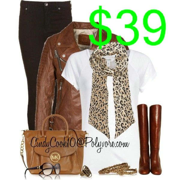 ❤ Brown leather jacket, white t-shirt, black skinny jeans, brown boots  handbag, brown leopard scarf