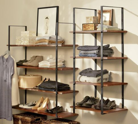 these wide shelves attach to the wall and would make good organizing/display space for shoes/bags, sweaters, linens, and container storage for small items