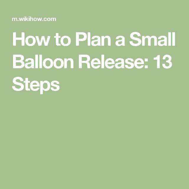 Plan A Small Balloon Release