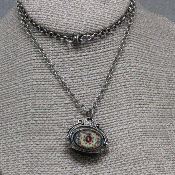 Handmade Jewelry Necklace 22 Inch Chain Silver B'sue by 1928 Pewter 3 Stone Mount Peacock Feather Flowers Quilt Spinner Pendant Oscarcrow by oscarcrow on Etsy