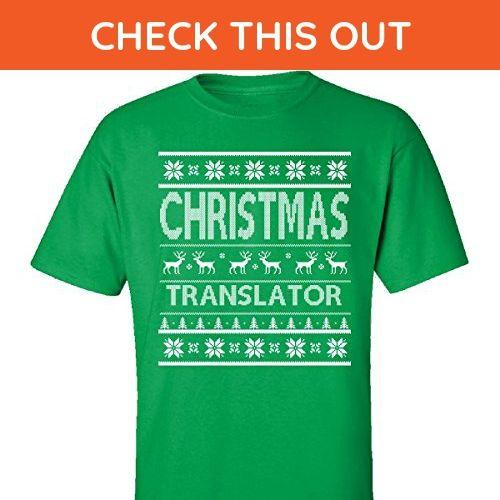 Christmas Translator Ugly Sweater - Adult Shirt L Irish-green - Holiday and seasonal shirts (*Amazon Partner-Link)