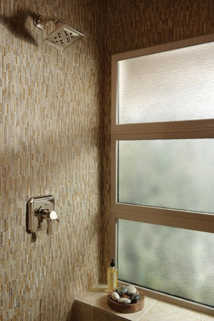 Stacked Picture Windows With Obscure Glass Lets In The Light But Maintains Privacy In This Bathroom Shower