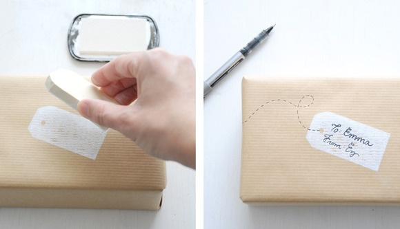 Use a rubber stamp to make a gift tag on wrapping paper!  Love this idea!