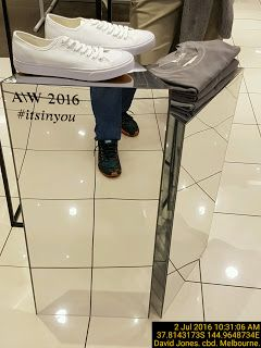 Mirror integrate with shoe shelf and brand name   Melbourne Mirrors Retail Shelf