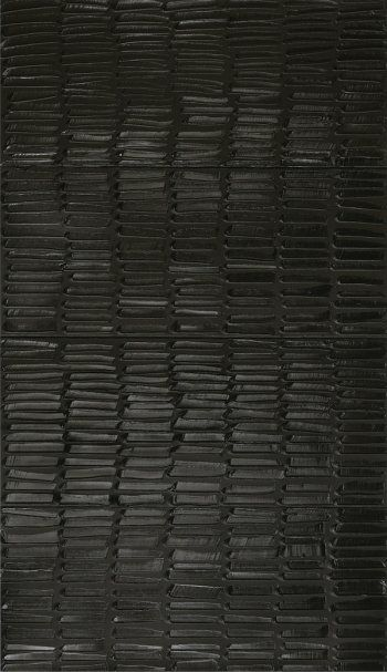 Pierre Soulages, Painting, 2009, 324 x 181 cm, acrylic on canvas, (3 canvas) 108 x 181 cm each (Private Collection)