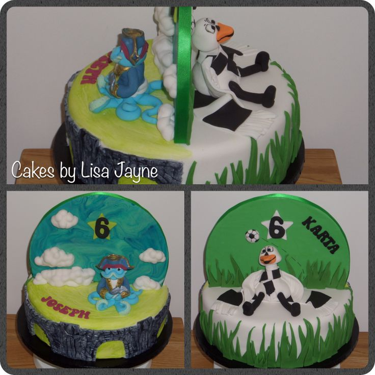 Skylander Swap force and Swansea City football club, half and half cake
