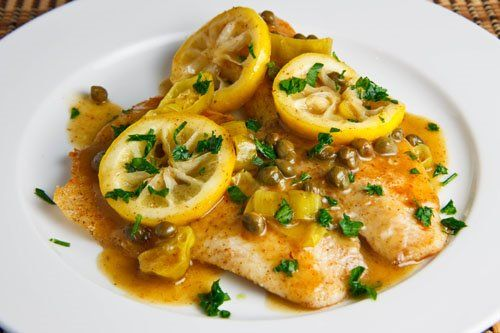 Tilapia Piccata.  Made this 3/4/13 and Justin and I loved it!  We felt like we were at a restaurant.  I added Dill instead of parsley and it was amazing.  Reduced butter by using only 2 tsp in pan and 1 tsp in sauce