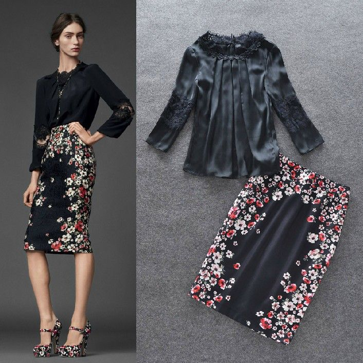 Blouse and skirt outfits 2014 | 2014-Spring-Summer-Women-Black-Casual-Lace-Patchwork-Blouse-Shirt
