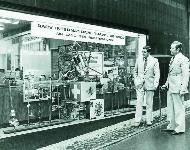 The RACV's International Travel Department at 123 Queen St, Melbourne with the  1979 Swiss walking stick display. Read more- http://ow.ly/AvW75