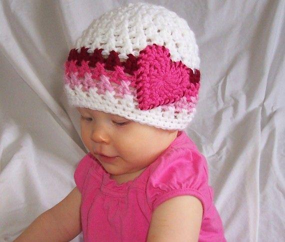 Crochet Valentine's baby beanie hat