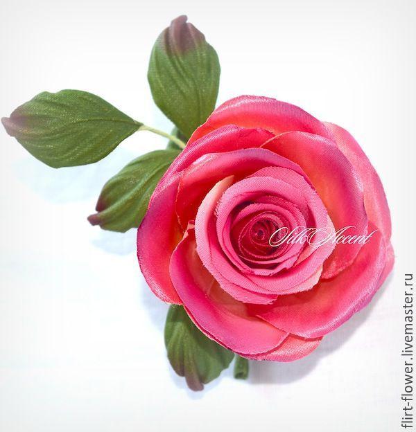 Купить Роза розово-желтая из ткани. Брошь бутоньерка. Цветы из шелка - ярко-красный