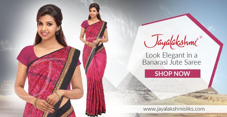 Look gorgeous on your special day with our Banarasi Jute Sarees. Buy traditional Banarasi Jute Sarees online, the finest wedding and bridal Sarees @ Jayalakshmi Silks.