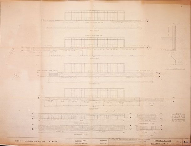 Architectural print of elevations for the Neue Nationalgalerie, Berlin, by Ludwig Mies van der Rohe, 1968.