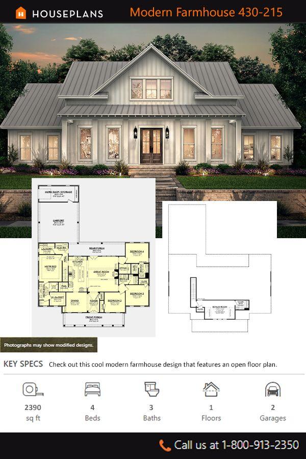 Farmhouse Style House Plan 4 Beds 3 Baths 2390 Sq Ft Plan 430 215 In 2020 Farmhouse Style House Plans Farmhouse Style House House Plans Farmhouse
