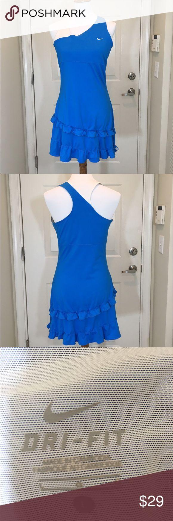 Nike tennis dress L dri-fit adorable!' Blue white Good condition dri-fit Nike Dresses Mini