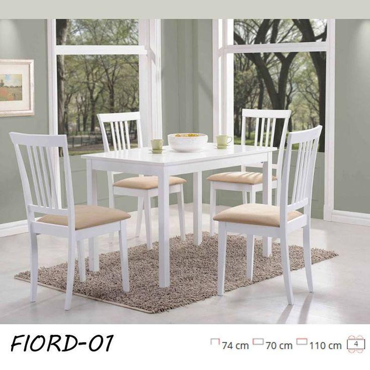 Ismerkedj meg favázas asztalainkkal, melyek közül biztosan találsz kedvedre valót! Fiord klasszikus formájú fehér asztal.  Asztallap: MDF, színe: fehér / fa keret, szín: fehér.