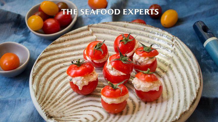 tuna basil stuffed cherry tomatoes