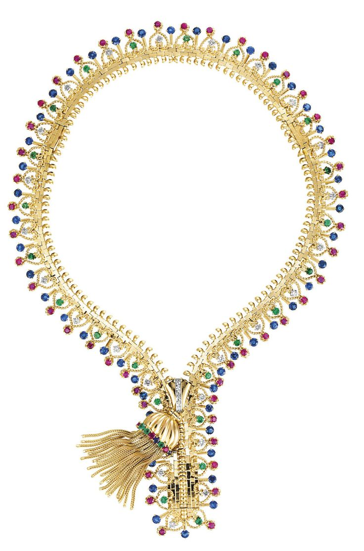 Van cleef amp arpels vca 18k yellow gold ruby cabochon amp diamond - Van Cleef Arpels Ruby Emerald Sapphire And Diamond Zip Necklace Circa 1951