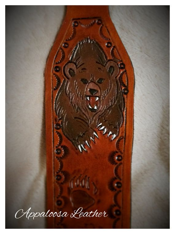 Custom Leather Gun Sling With Grizzly Brown Bear Paws Or