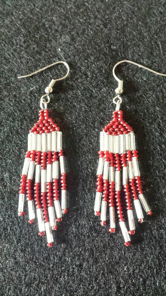 Hey, I found this really awesome Etsy listing at https://www.etsy.com/listing/476022146/red-and-silver-dangle-earrings