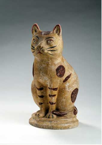 RARE AND LARGE PENNSYLVANIA HOLLOW-CAST CHALKWARE SEATED CAT, MID-NINETEENTH CENTURY