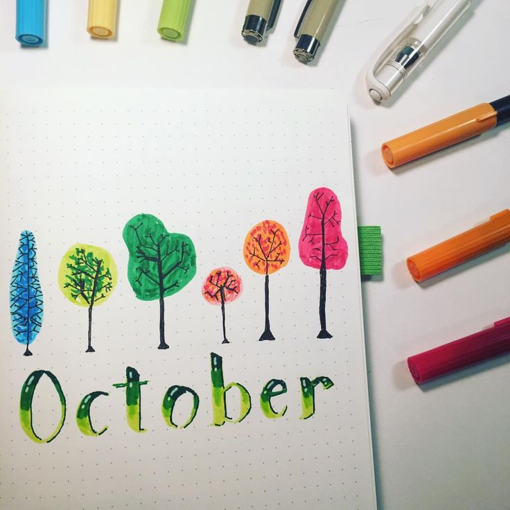 Gorgeous cover page for October's bullet journal! The theme for this monthly bujo layout is trees! Beautiful and inspirational planner doodles for a lovely layout!
