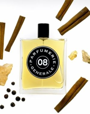 Intrigant Patchouli Parfumerie Generale. The fragrance features ginger, sandalwood, amber, patchouli, musk and benzoin.