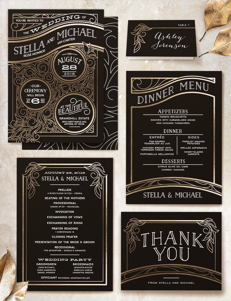Black and Gold Foil Minted Wedding Suite with Great Gatsby Art Nouveau Inspired Theme by Geek Ink Design from Minted