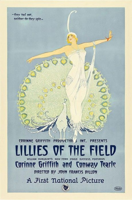 Movie poster for 'Lillies of the Field', a lost 1924 silent film produced by and starring actress Corinne Griffith and distributed by Associated First National Pictures. It is based on a 1921 play, 'Lilies of the Field', by William J. Hurlbut. The film was remade by Griffith again as an early sound film in 1930