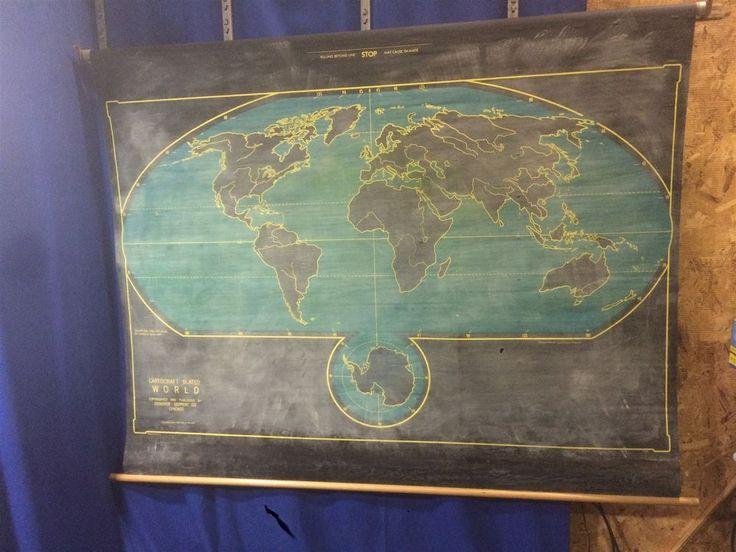 Vintage Denoyer Geppert Cartocraft Slated WORLD School Pull Down Wall Chalk Map #DenoyerGeppert #DenoyerGeppert