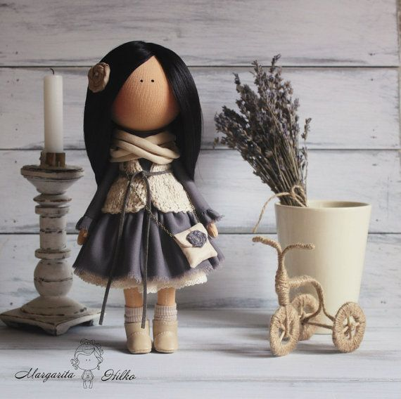 Soft doll handmade brunette dark grey Home by AnnKirillartPlace