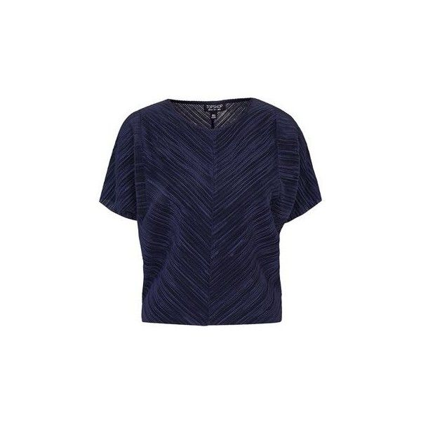 TopShop Plisse Batwing Tee (€41) ❤ liked on Polyvore featuring tops, t-shirts, navy blue, batwing t shirt, blue t shirt, blue top, topshop and navy tee