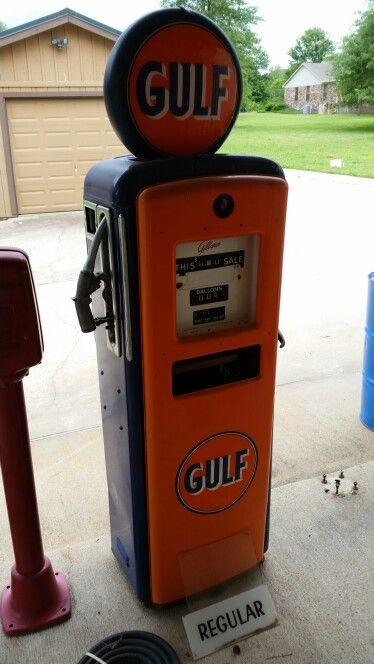 On ebay GULF Gilbarco gas pump with globe