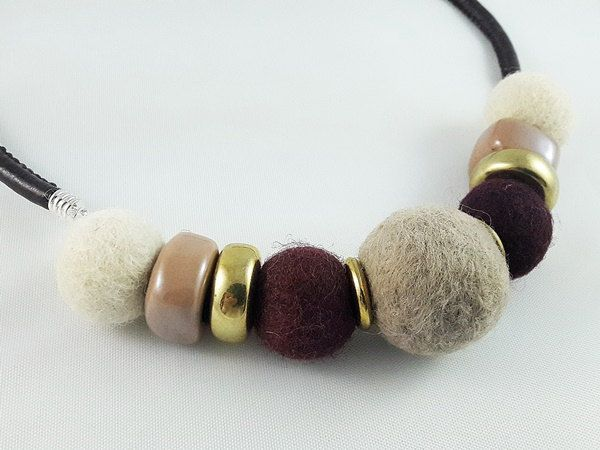 Valentine SALE 50% off coupon code MODO2016 Felted Jewelry, Felt and Ceramic Necklace, Gift for Woman, Gift for Her, Gift for Valentine by modotikon on Etsy