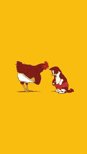 鶏と猫のオシャレなイラスト壁紙