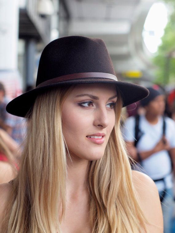 Brown Wool Felt Belted Fedora by MuDuLondon on Etsy, $65.78