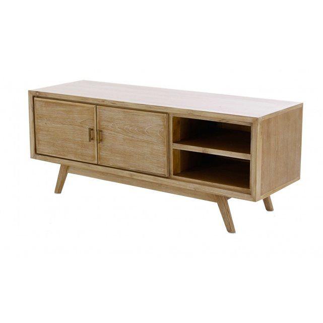 meuble tv en teck 2 portes mahora zago - Meuble Tv Vintage Ikea