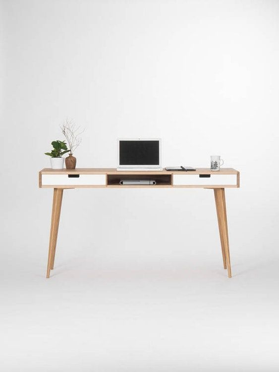 Modern Oak Desk With White Drawers And Storage Oak Desk White