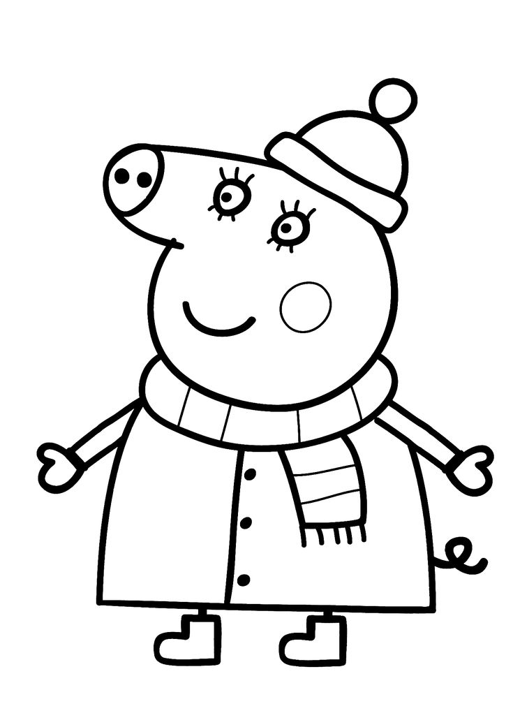 Mom from Peppa pig cartoon coloring pages for kids