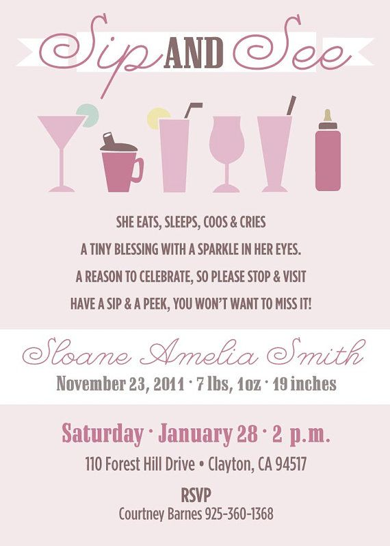 Baby Sip and See Invitations by apinchoflovely on Etsy, $2.50
