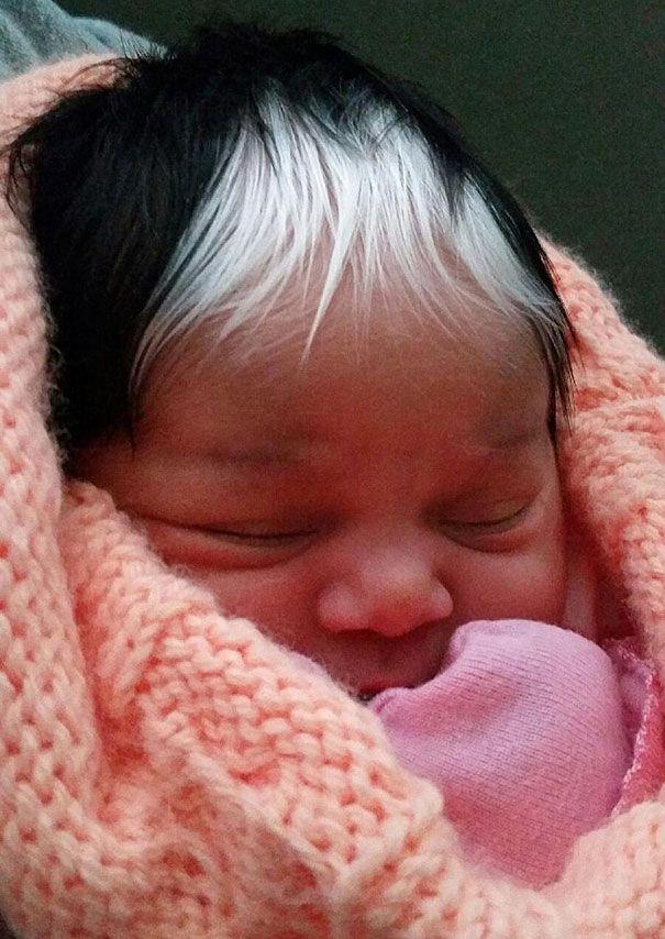 Elle naît avec exactement la même mèche de cheveux blancs que sa maman