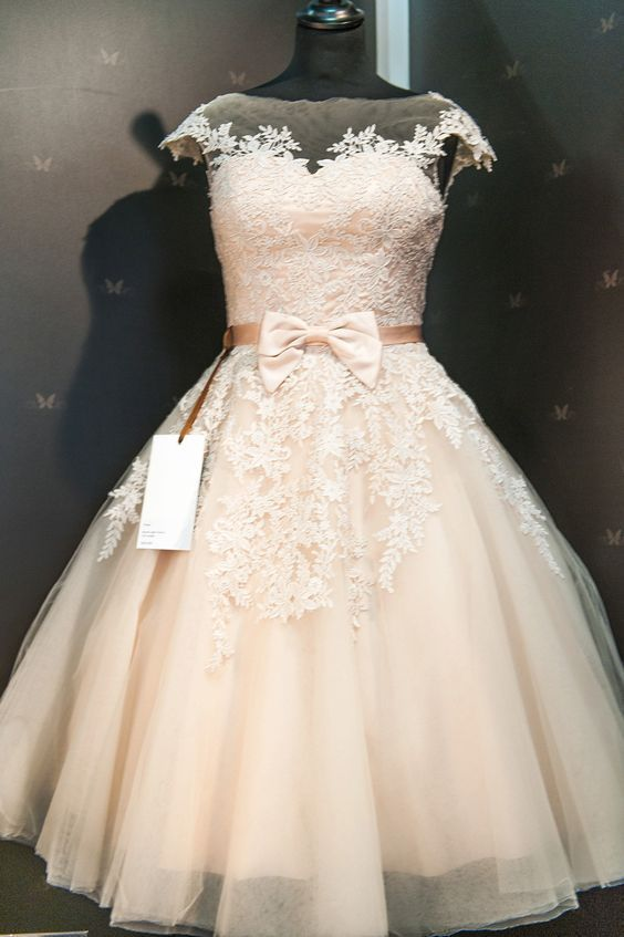 Champagne Cocktail Length Wedding Dresses