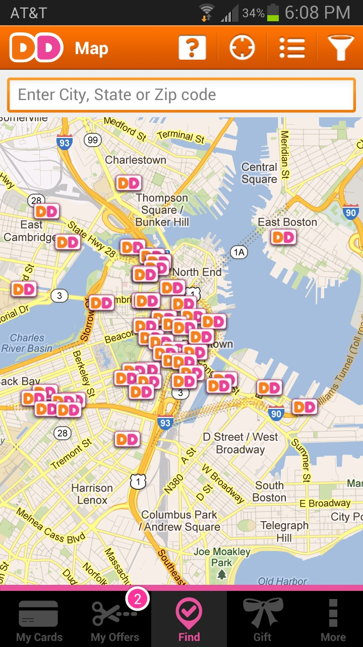 Look how many DD's there are in Boston! From the Dunkin' App.