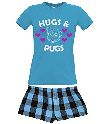 Sapphire Women's T-Shirt & Electric Blue Shorts Pyjama Set 'HUGS & PUGS'