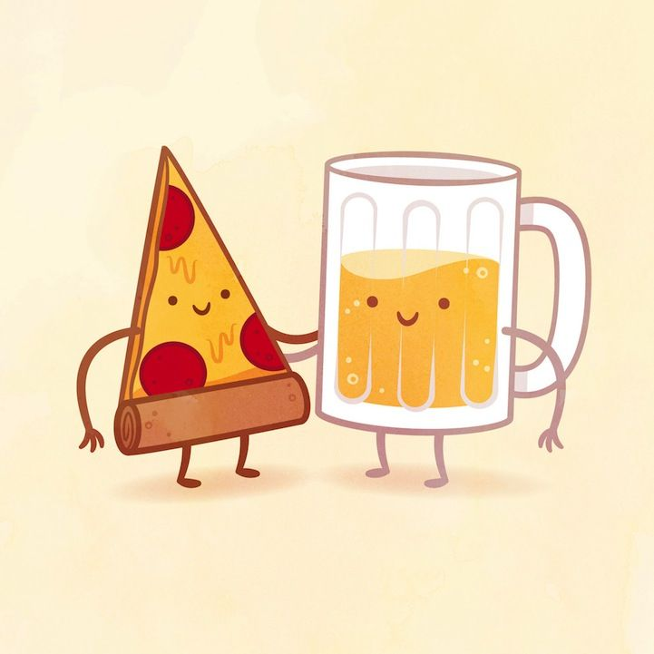 Philip Tseng's whimsical illustrations featuring delicious food pairings as best friends. #illustration #food